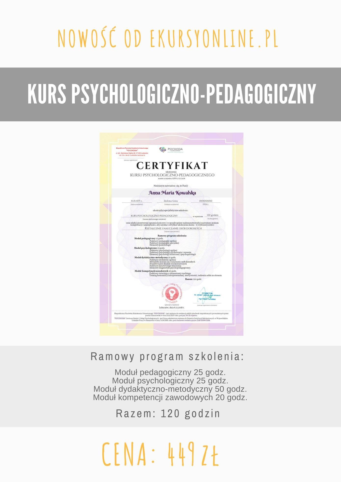 KURS PSYCHOLOGICZNO-PEDAGOGICZNY